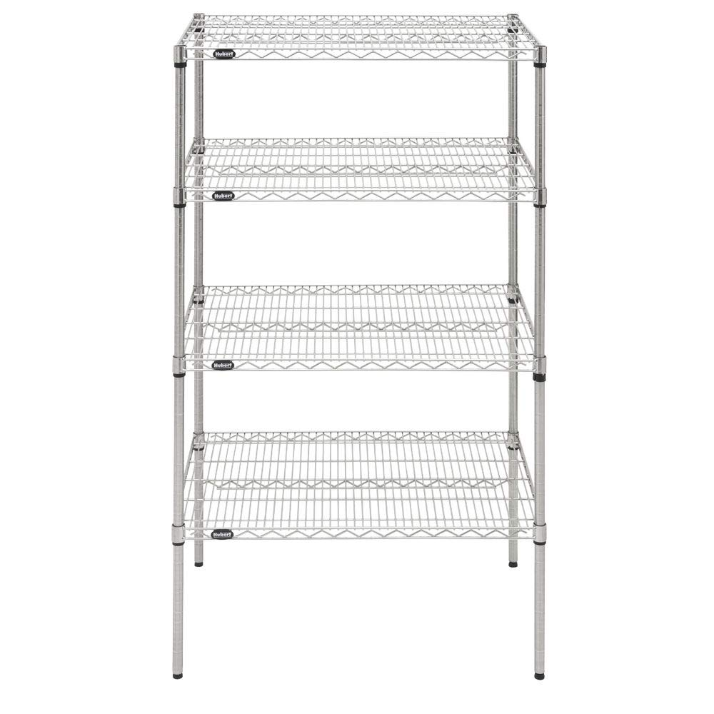 HUBERT Shelving Unit with 4 Shelves Silver Wire - 36'' L x 24'' W x 63'' H by HUBERT