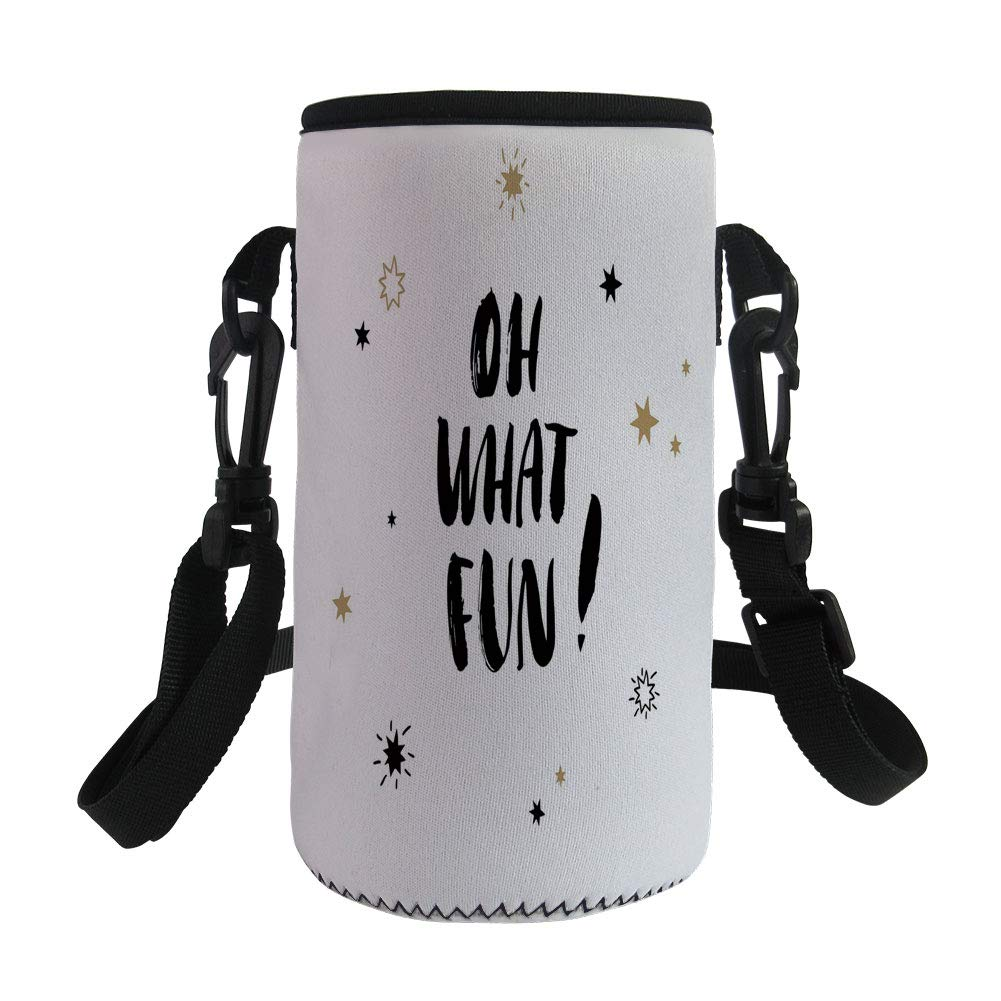 Small Water Bottle Sleeve Neoprene Bottle Cover,Inspirational,Oh What Fun Typography with Star Shapes Celebration Party Themed Print,Light Brown Black,Great for Stainless Steel and Plastic/Glass Bottl