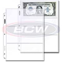 BCW 20 (Twenty Pages) Pro 3-Pocket Currency Storage Page - Dollar Bill & Currency Collecting Supplies