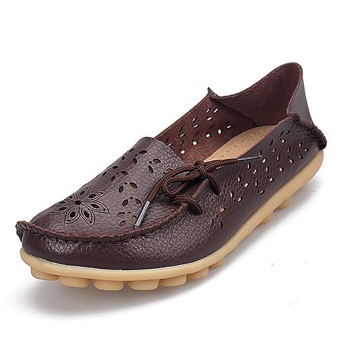 Bridfa Zapatos de mujer de cuero genuino de mujer Mocasines de mujer Slip-On pisos femeninos Mocasines Zapatos de conducción de damas recortes madre calzado ...