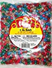 Darice Glitter Pony Bead, 9mm 1-Pound Bag, Assorted Colors
