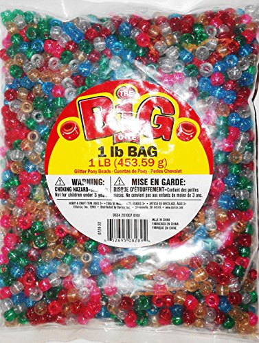Darice Glitter Pony Bead, 9mm 1-Pound Bag, Assorted (Bulk Pony Beads)