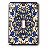 3dRose LLC lsp_52405_1 Real Tile with Flower Motiff, Single Toggle Switch