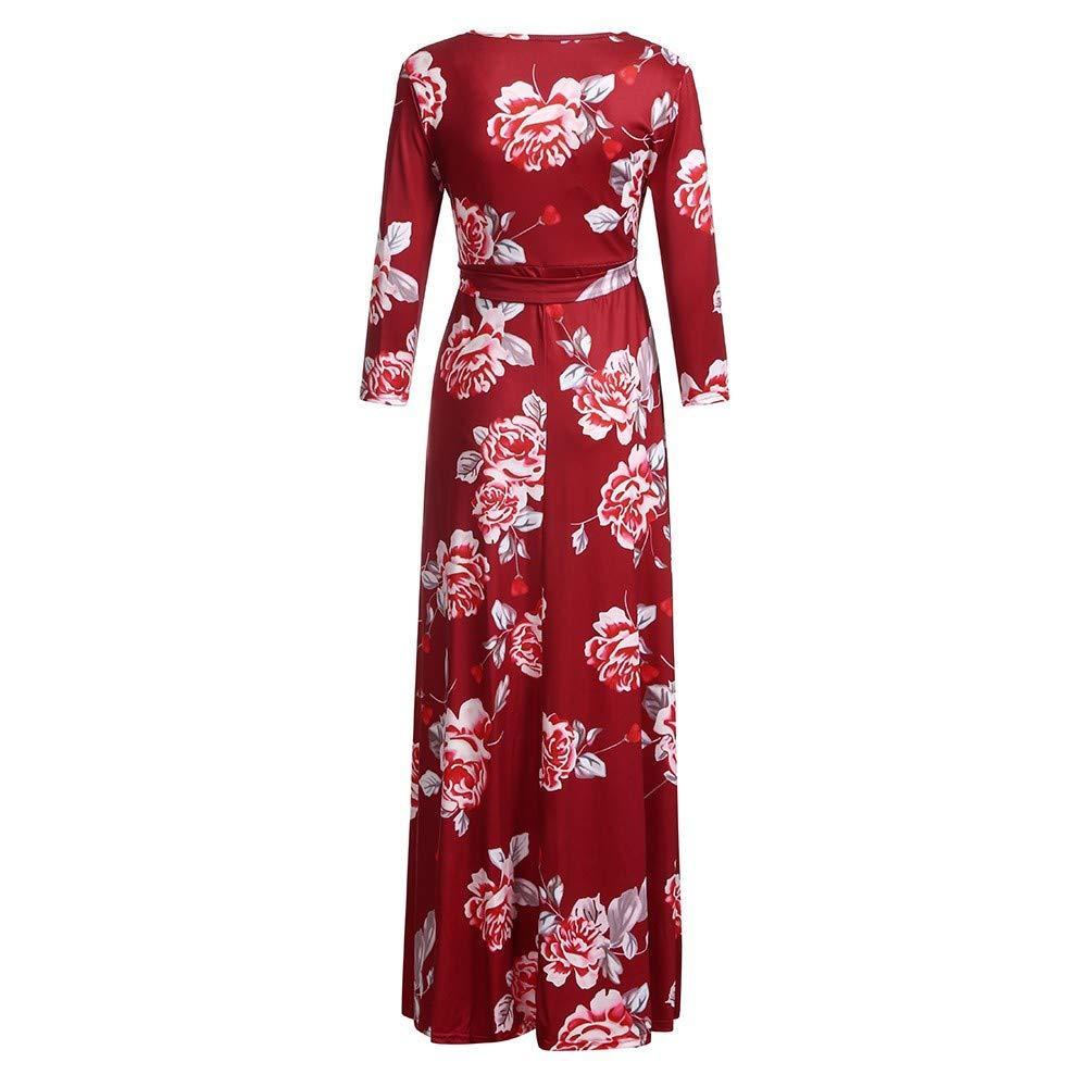 Cinnamou Maxi Vestido de Mujeres Embarazada Floral con Alta Cintura Vestidos Largos Cuello en V Color Liso Foto Ropa premamá: Amazon.es: Ropa y accesorios