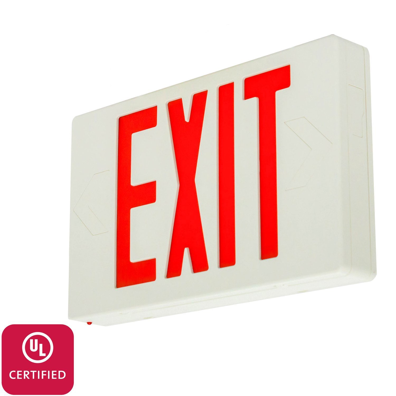 LFI Lights - UL Certified – Hardwired Red LED Standard Exit Emergency Sign Light - Battery Backup - LEDRBB