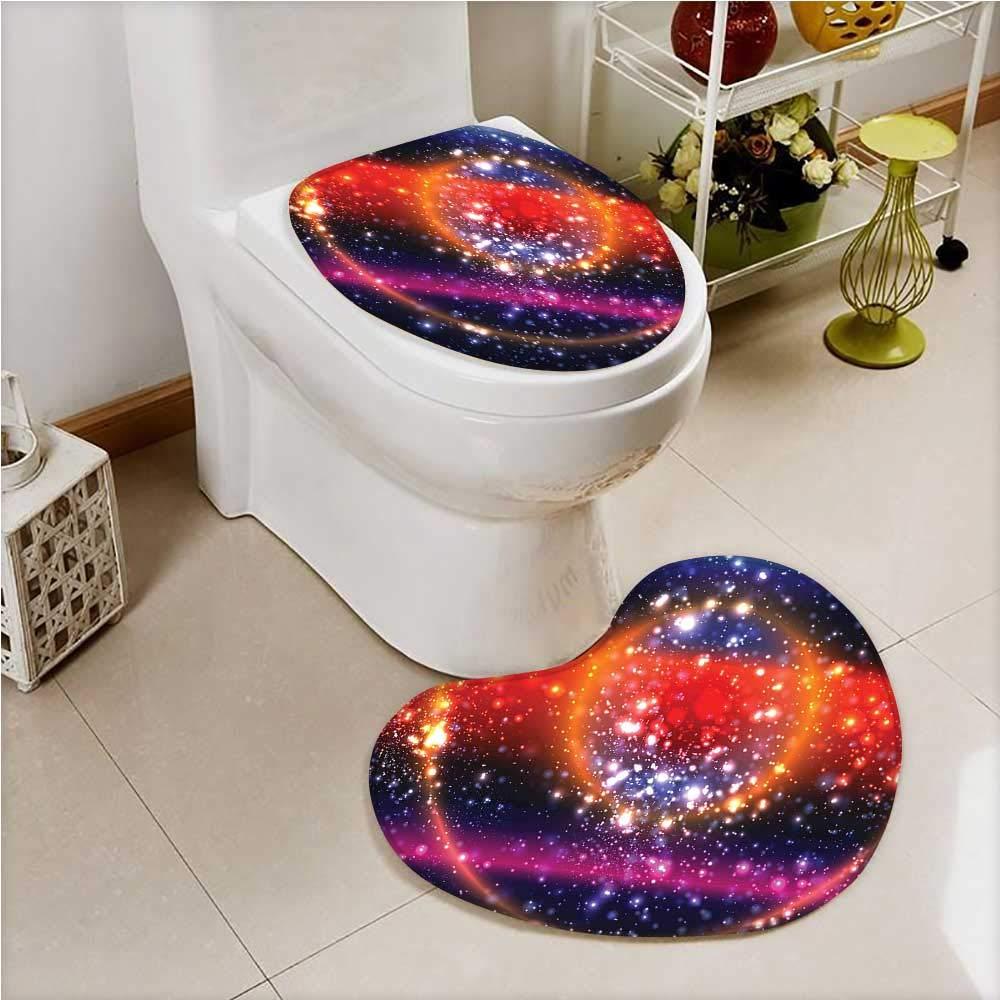 aolankaili Printed Bath Heart Shaped Foot pad Set Apocalyptic Cosmos Design Circular Striped Sky Solar System 2 Piece Heart Shaped Foot pad Set