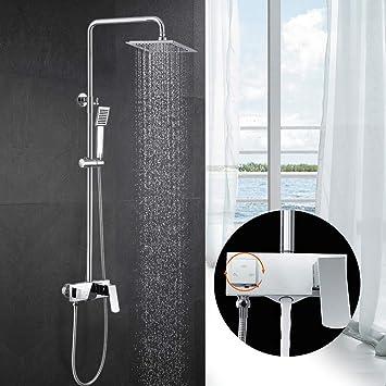 ubeegol Sistema de ducha Latón Conjunto de Ducha con Grifo Redonda ...