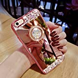 iPhone 6s Plus Case, Surpriseyou Luxury Crystal Rhinestone Soft Rubber Bumper Bling Diamond Glitter Mirror Makeup Case with Ring Stand Holder for iPhone 6 Plus & 6s Plus (Rose Gold)