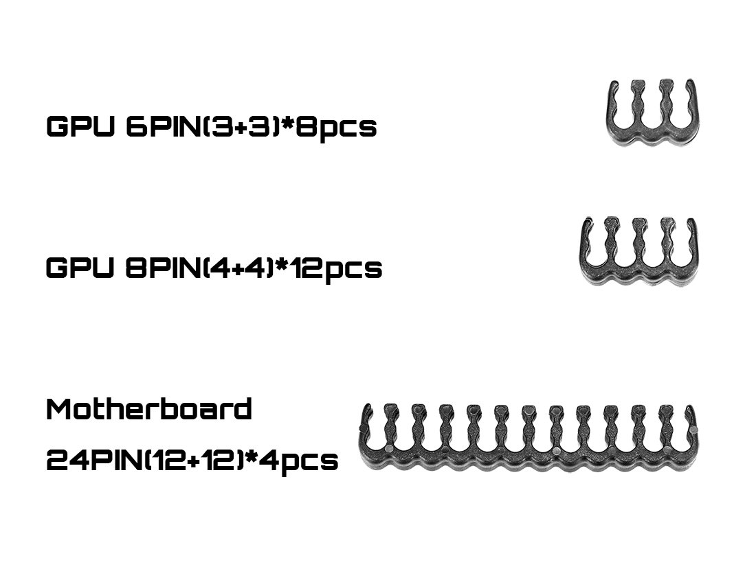 24 Pieces Set = 24-pin x 4,8Pn x 12,6-pin x 8 Cable Comb for 3 mm Cable Gesleeved Up to 3.4 mm/0.13inch Black,CM245 by upHere (Image #2)