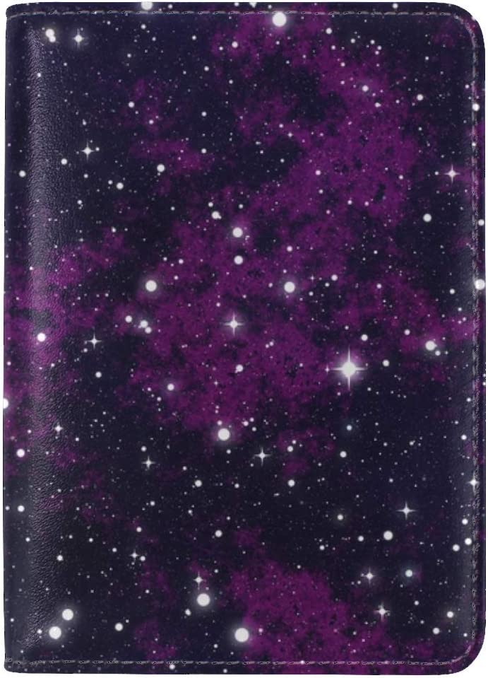 JiaoL Stars Starry Sky Astronomy Leather Passport Holder Cover Case Travel One Pocket