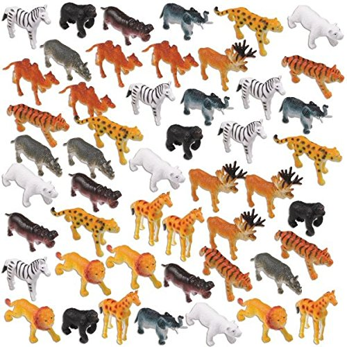 Amscan 392661 Zoo Animals Mega Value Pack Fun-Filled Assorted Mini Zoo Animals Party Mega Value Pack Favors, Plastic, 2