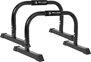 5BILLION XL Push Up Stands Parallettes Dip Bars with Non-Slip Foam Handle & Rubber Feet Workout for Handstand Muscle Ups Push Ups Home & Gym Training