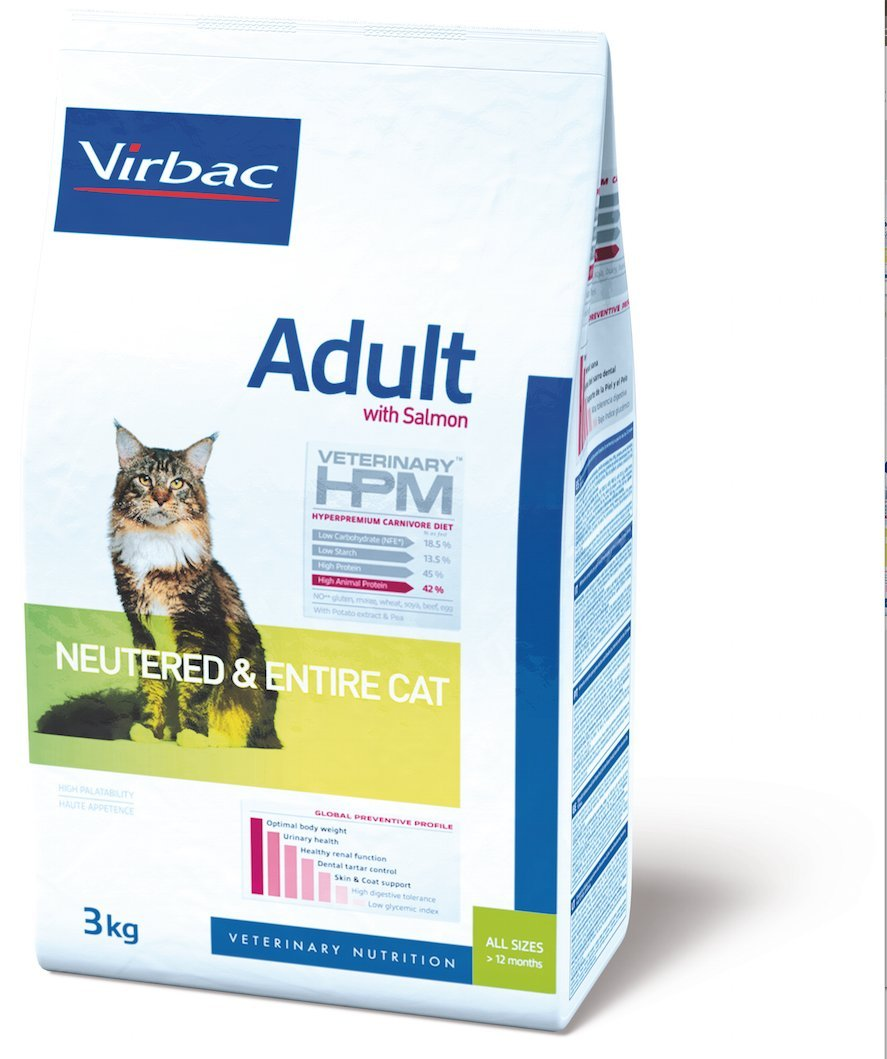 Virbac Veterinary HPM Adult Neutered & Entire Cat Saumon 3 kg 5078