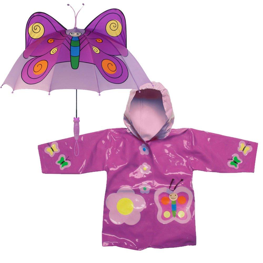 Kidorable Butterfly Rain Coat and Umbrella Set (2T)