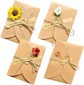 AECIH Thank You Card Flower Greeting Card Birthday Card Handmade Invitation Letter Card Envelopes DIY Flower Postcard 12 Pack
