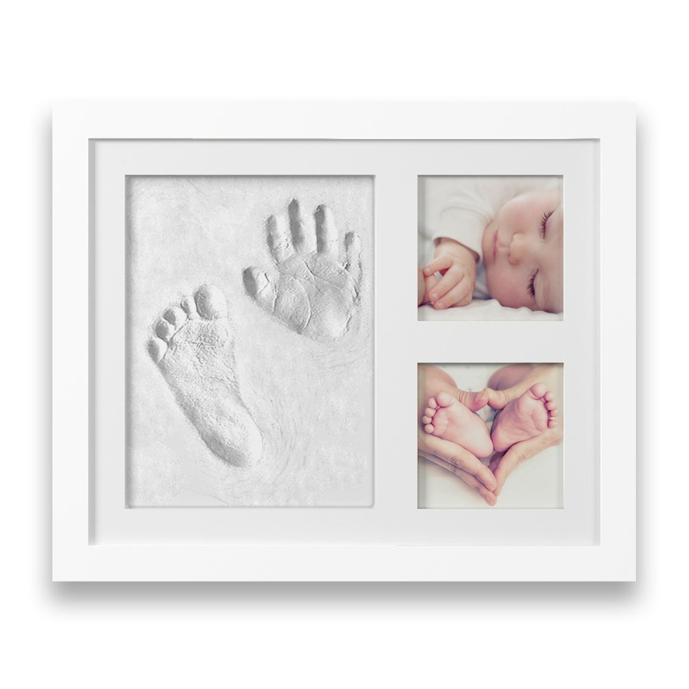 Kremah Baby Handprint Kit & Footprint Keepsake Box, Newborn Photo Frame Album, Unique Baby Gift Set for Shower Registry & Family First Birthday - Personalized for Girls & Boys Nursery Room Decoration