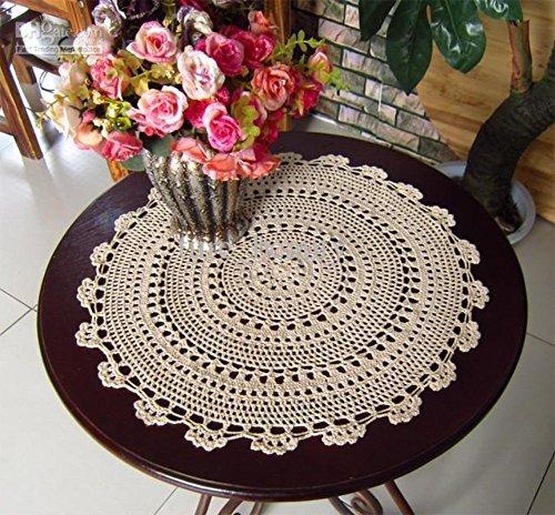 Fennco Styles Handmade Medallion Crochet Lace Round Cotto...