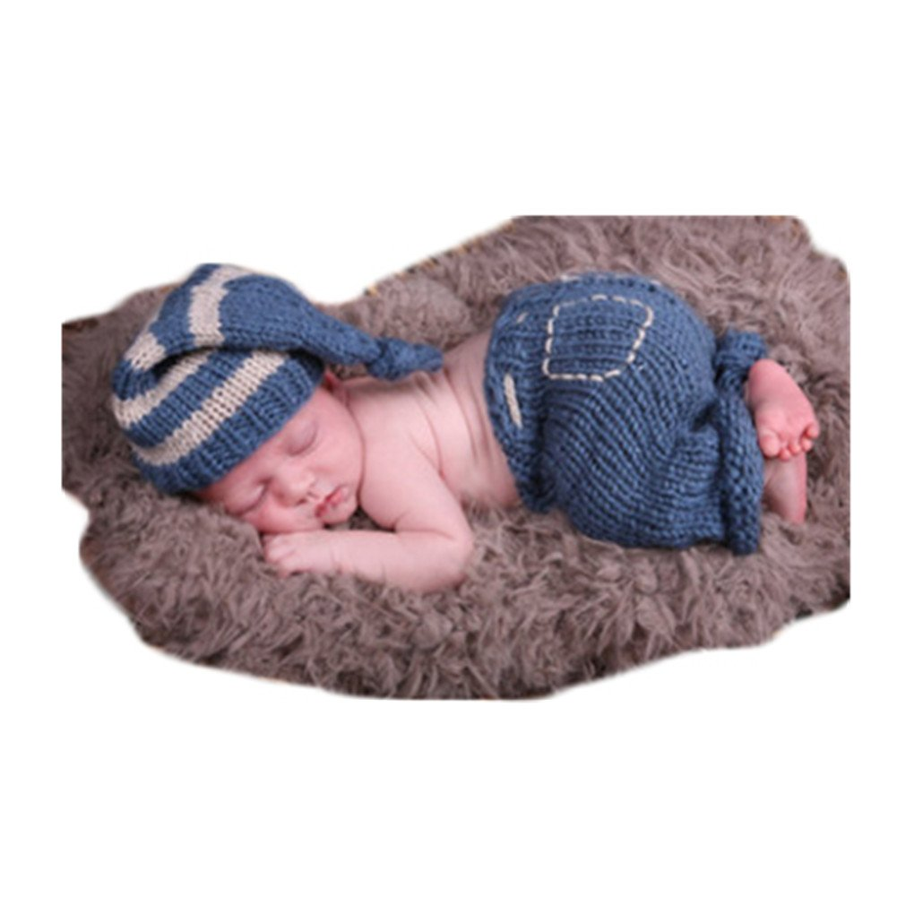 6f3d3209af24 Amazon.com  Newborn Baby Photo Shoot Props Girl Boy Crochet Knit Hat  Costume Stripe Hat Pants Overalls Photography Props  Toys   Games