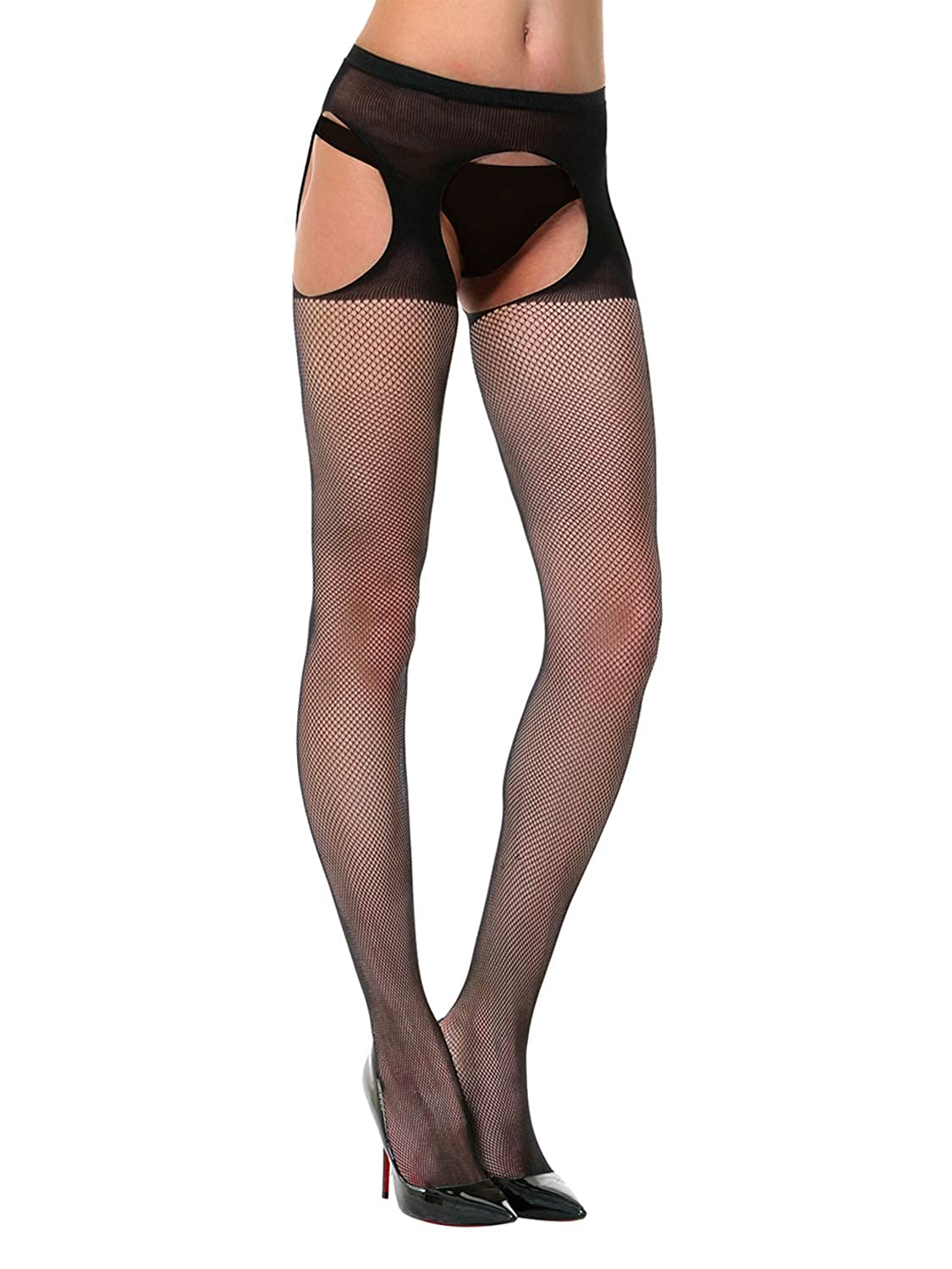 6317fba8e Amazon.com: Florboom Womens Sexy Fishnet Suspender Crotchless Tights  Pantyhose Stockings: Clothing