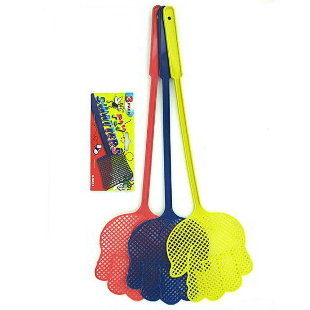 3 Pack fly swatters -assorted colors - Pack of 96 by bulk buys