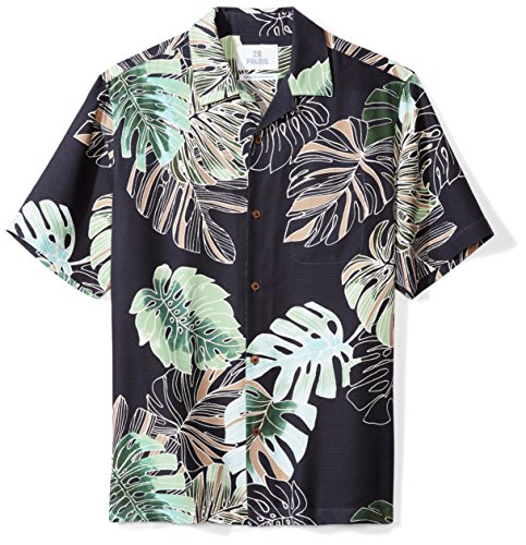 28 Palms Men's Relaxed-Fit 100% Silk Tropical Hawaiian Shirt, Navy Banana Leaf, X-Small
