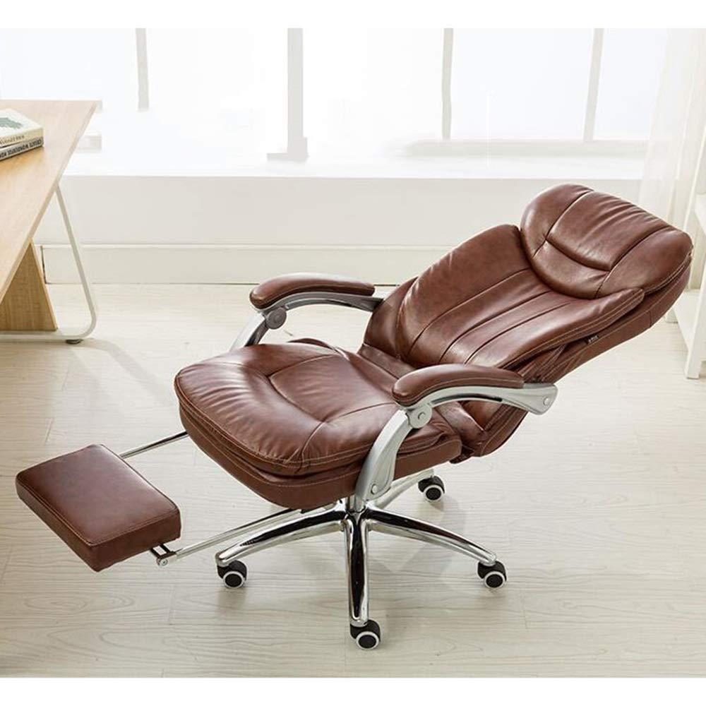 JIEER-C stol datorstol hög rygg svängbar spelstol med fotstöd PU-läder skrivbord dator skrivbordsstol ergonomisk kontor verkställande stol med nackstöd och ryggstöd, svart BRUN