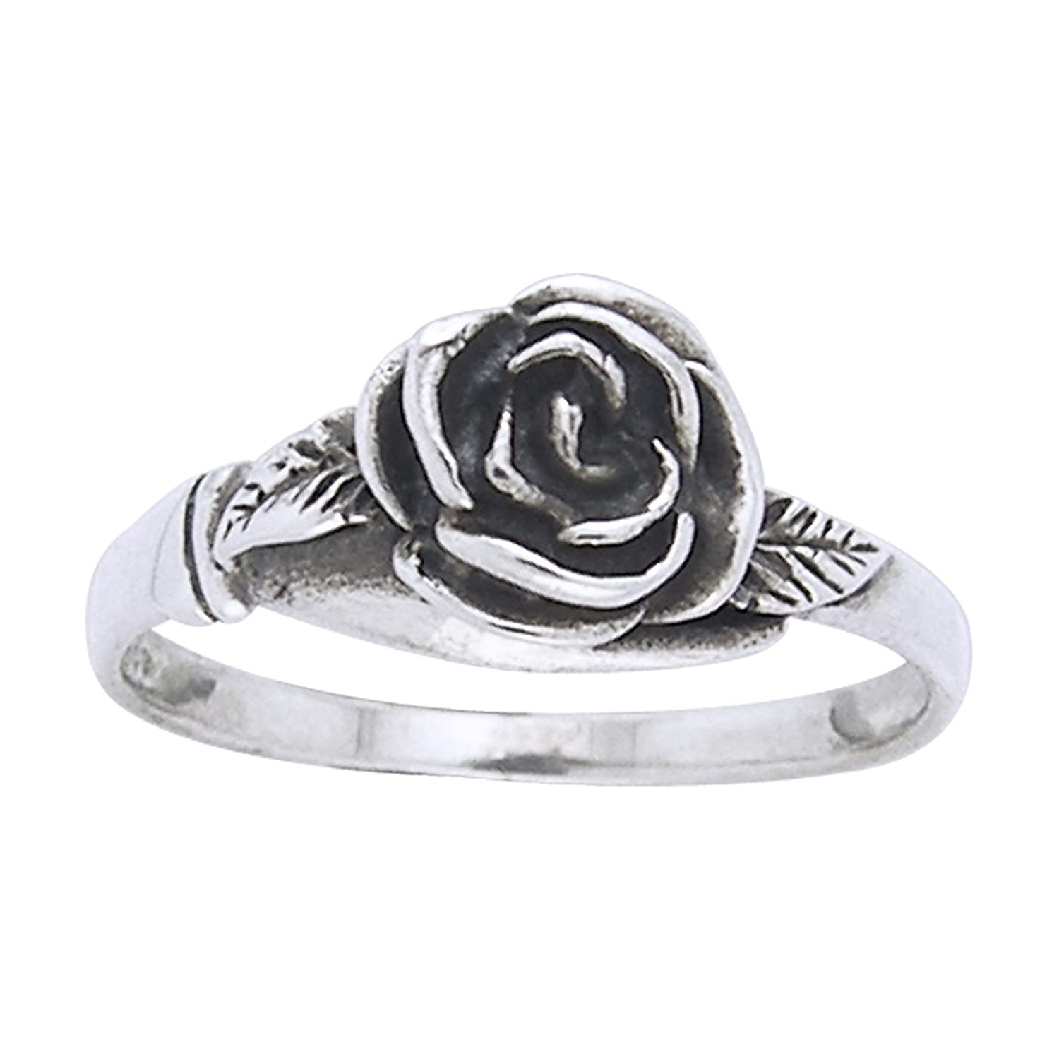 Amazon Small Sterling Silver Detailed Rose Flower Ring Sizes
