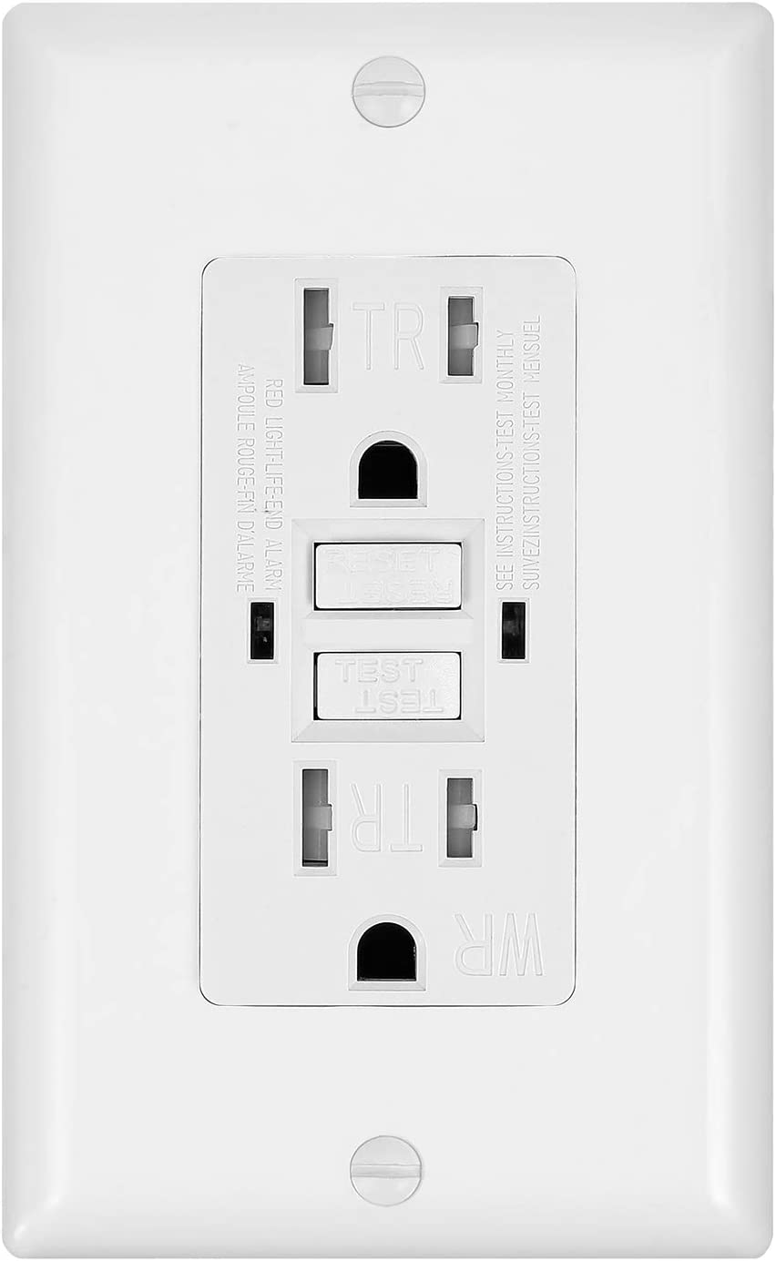 1 Pack - GFCI Duplex Outlet Receptacle - Tamper Resistant & Weather Resistant 15-Amp/125-Volt, Self-Test Function with LED Indicator - UL Listed, cUL Listed - Wall Plate and Screws Included, White