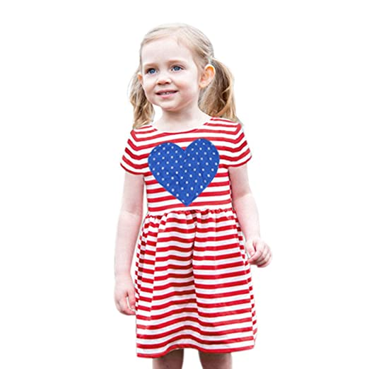 6eeb14abd022 Amazon.com: 2019 New Summer Cute Toddler Baby Girls Striped Stars Heart  Pattern Dress Clothes Outfits: Clothing