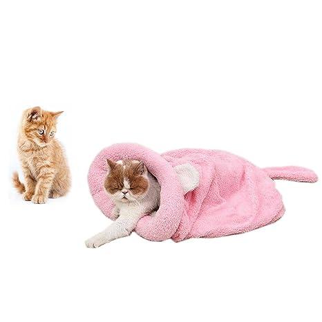 Saco de dormir suave y cálido para gatos, zona Cama de cueva para mascotas Estuche de ...