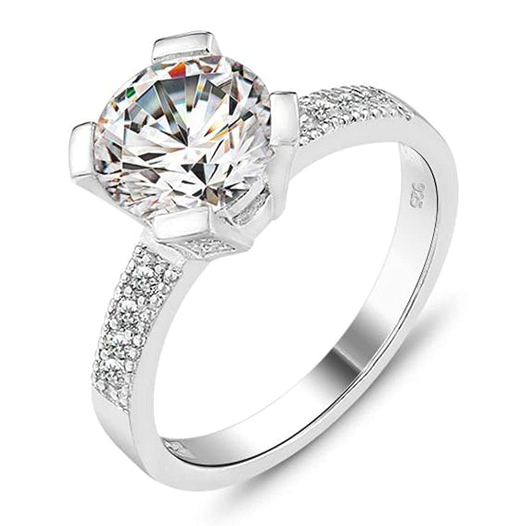 Bishilin Womens Silver Plated 2ct Cubic Zirconia Anniversary Bridal Wedding Band Engagement Ring Size 7
