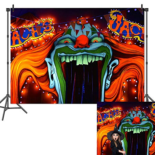 Halloween Party Entrance (Qian Horror Circus Carnival Theme Photography Background Scary Giant Entrance Evil Vampire Decor Photo Background Halloween Party Decoration Cake Table Banner Studio Props 7x5ft)