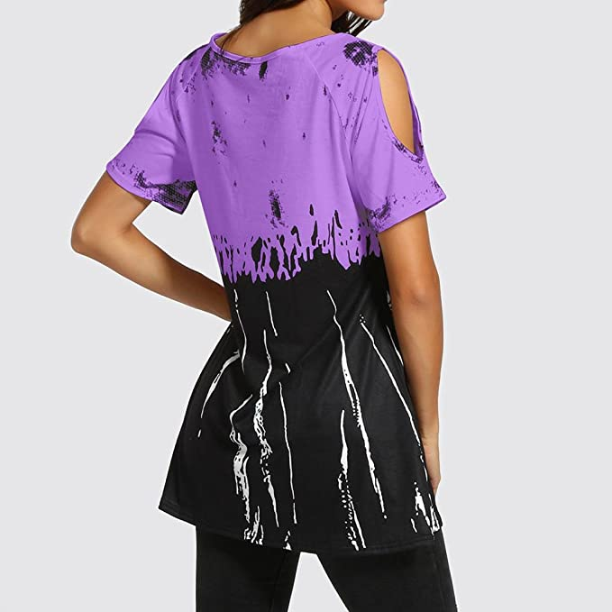 Off Shoulder T Shirts for Womens, FORUU Casual Tie Dyed Print Blouse Loose Tops at Amazon Womens Clothing store: