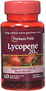 Puritans Pride Lycopene 20 Mg Softgels, 60 Count
