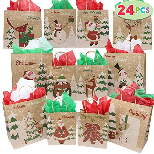 JOYIN 24 Christmas Kraft Gift Bags with Assorted Christmas Prints for Kraft Bags, Christmas Goody Bags, Xmas Gift Bags, School Classrooms and Party Favors by Joiedomi ()