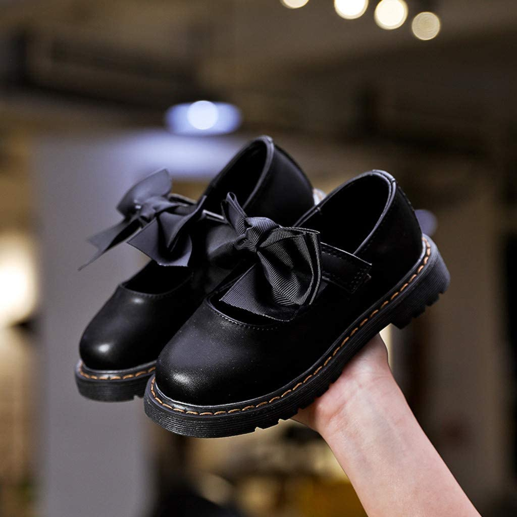 ❤️Rolayllove❤️ Girls Bowknot Strap School Uniform Dress Shoe Mary Jane Flat Shoes for Leather