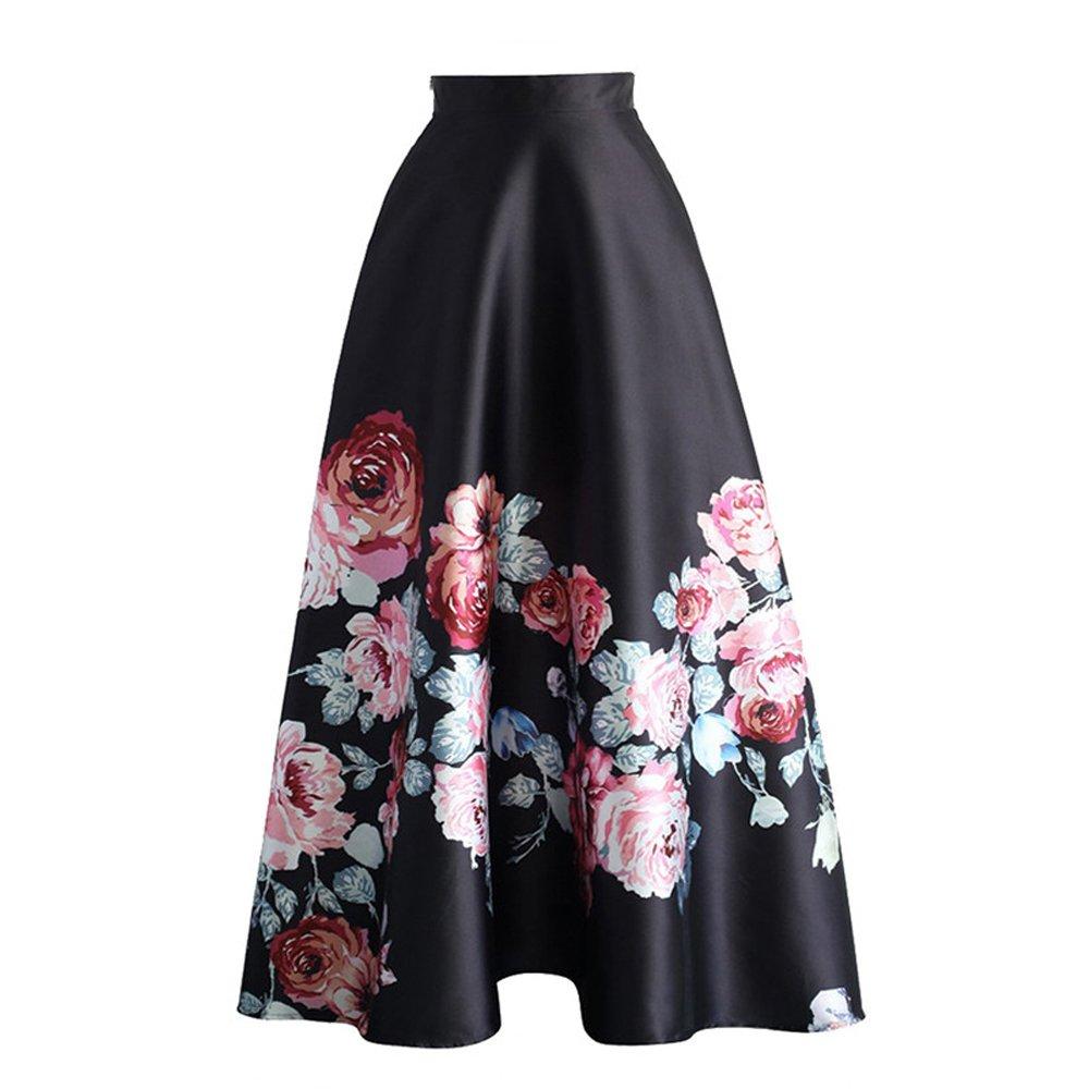 Eiffel Women's Flower Print Colorblock High Waist A-line Swing Maxi Skirt Dress (Large, Style 3)