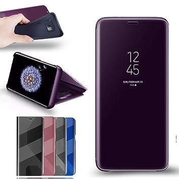 RLGPBON Funda Samsung Galaxy S9 Case Clear View Standing Cover, Flip Cover Carcasa para Samsung Galaxy S9 Soporte Plegable, Púrpura