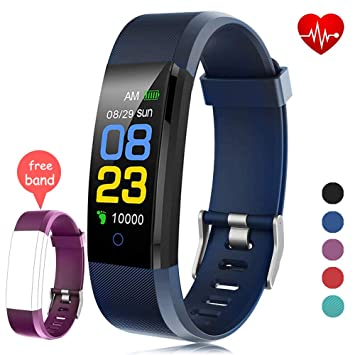 F-FISH Fitness Tracker Waterproof, Activity Tracker Watch con monitor de ritmo cardíaco, banda inteligente con monitor de presión arterial, contador ...