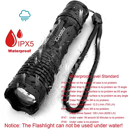 LED Handheld Flashlight iCoostor Tactical Torches Powered Bright Water Resistant 5 Modes Zoomable Focus Light For Outdoor