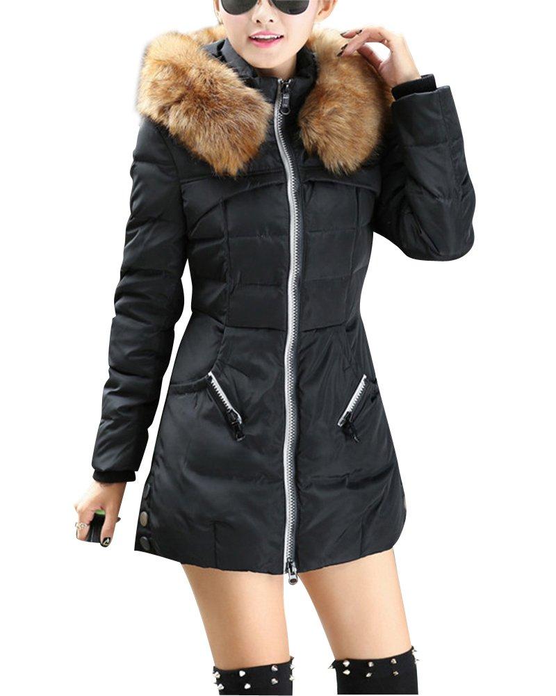 Mujer Color sólido Down con capucha de la capa de la chaqueta de abajo Mezcla de algodón Abrigo