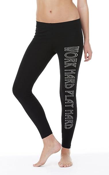 cf6eca0f59029 Work Hard Play Hard Legging Girls Nero: Amazon.it: Abbigliamento