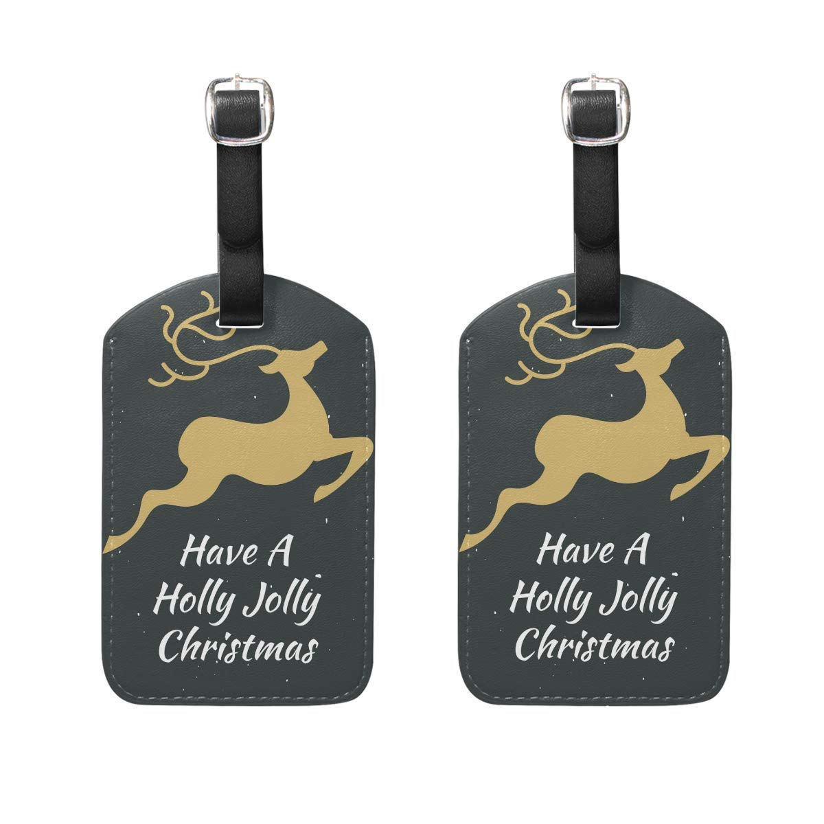 Merry Christmas Reindeer Colors Bulbs Luggage Tag Travel ID Label Leather for Baggage Suitcase Set 2 Piece