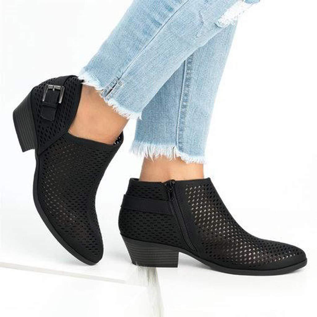 BEAUTYVAN Women's Ankle Booties Summer Casual Solid Ponited Toe Mid Heeled Sandals (US:6.5, Black) by BEAUTYVAN (Image #5)