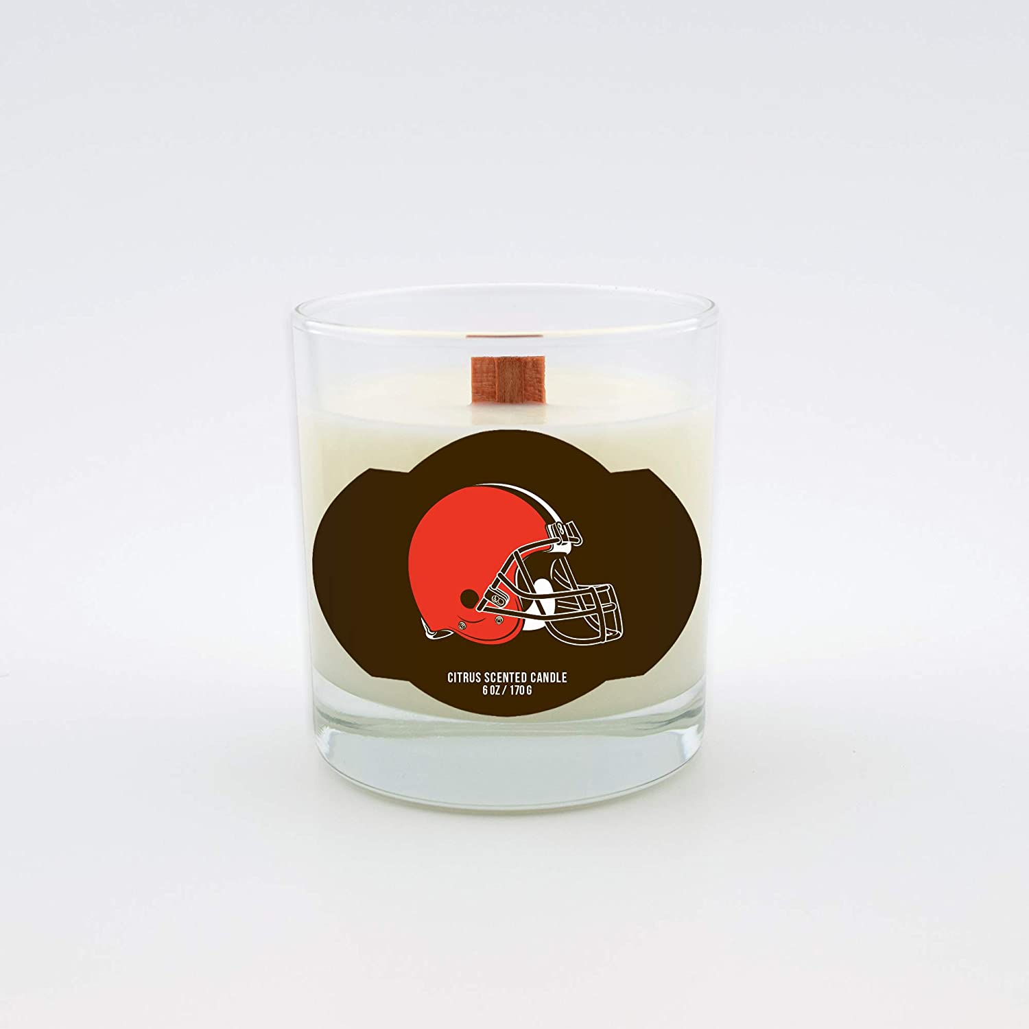 Wood Wick Worthy Promotional NFL Cleveland Browns Citrus Scented 6 oz Soy Wax Candle