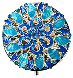 Blue Antique Round Compact Metal Mirror With Rhinestones