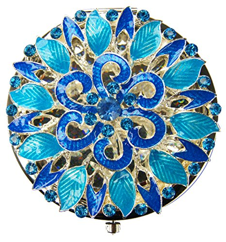 (Ivenf Blue Floral Antique Flower Round Vintage Compact Metal Purse Mirror, Wedding/Thanksgiving)