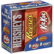 HERSHEY'S Chocolate Candy Bar Variety Pack, Reese's, Kit Kat 18 Count