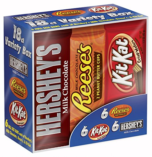 Hershey Chocolate Candy Bar Variety Pack, HERSHEY'S Milk Chocolate, REESE'S Peanut Butter Cups, and KIT KAT Bars, 18 Count Box (Halloween Candy)