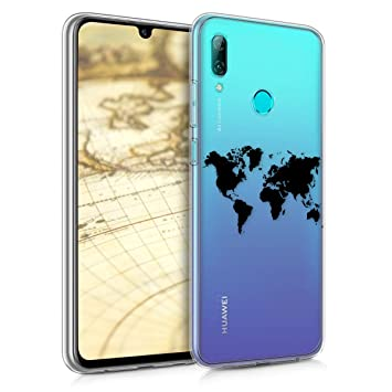 kwmobile Funda para Huawei P Smart (2019) - Carcasa de [TPU] para móvil y diseño de Mapa del Mundo en [Negro/Transparente]